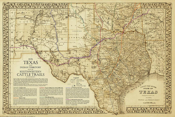 Historical Digital Art - 1876 Great Texas And Southwestern Cattle Trails Map by Texas Map Store