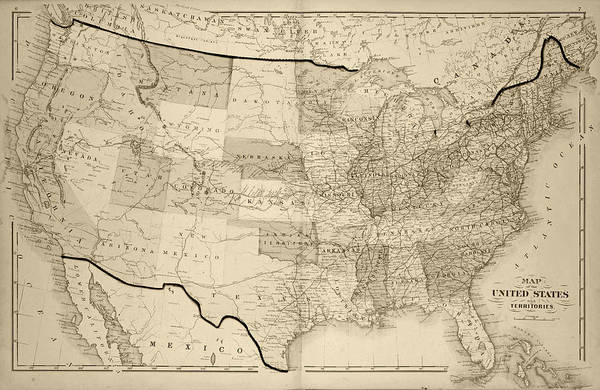1876 Map Of The United States Sepia Art Print