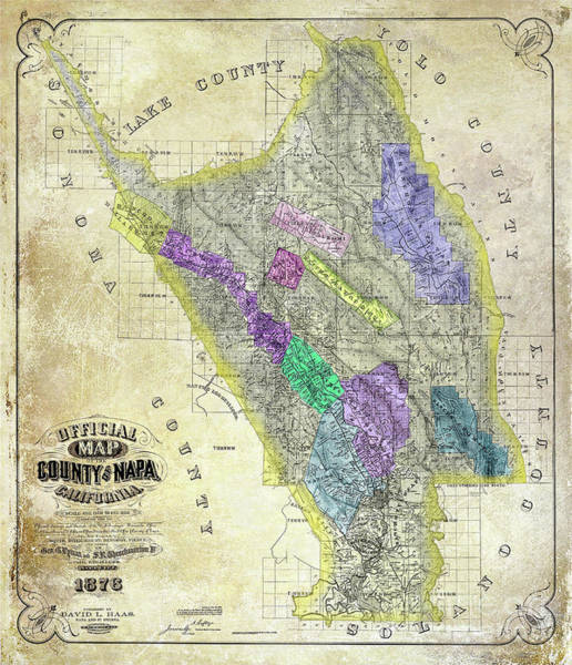 White Wine Photograph - 1876 Napa Valley Map by Jon Neidert