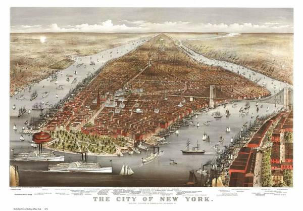 New York City Map Drawing - 1876 New York City Map by Dan Sproul