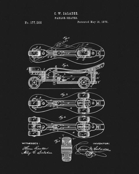 Drawing - 1876 Roller Skates Patent by Dan Sproul