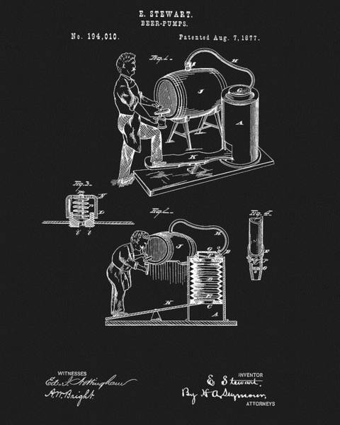Mixed Media - 1877 Beer Pump Patent by Dan Sproul