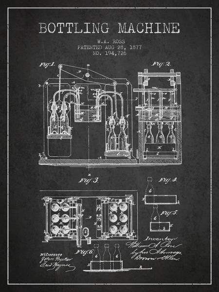 Brewery Digital Art - 1877 Bottling Machine Patent - Charcoal by Aged Pixel