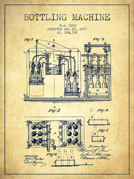 Brewery Digital Art - 1877 Bottling Machine Patent - Vintage by Aged Pixel