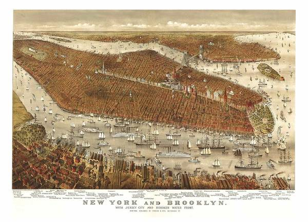 New York City Map Drawing - 1877 Brooklyn New York City Map by Dan Sproul