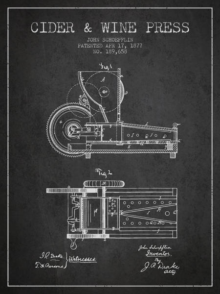 Wine Barrel Wall Art - Digital Art - 1877 Cider And Wine Press Patent - Charcoal by Aged Pixel