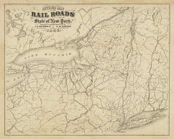 Digital Art - 1877 New York State Railroad Map Sepia by Toby McGuire