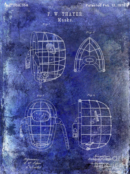 Wall Art - Photograph - 1878 Catchers Mask Patent Blue by Jon Neidert