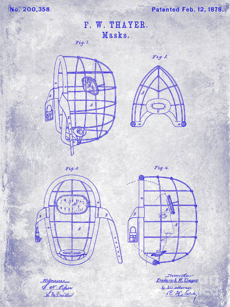 Wall Art - Photograph - 1878 Catchers Mask Patent Blueprint by Jon Neidert