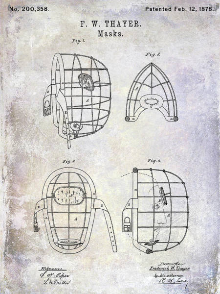 Wall Art - Photograph - 1878 Catchers Mask Patent by Jon Neidert