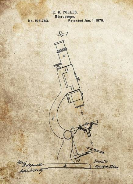 Drawing - 1878 Microscope Patent by Dan Sproul