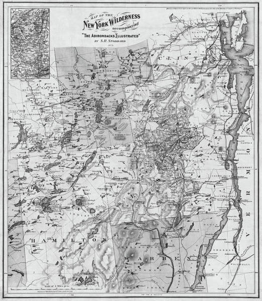 Photograph - 1879 Adirondacks Wilderness Map Upstate New York Black And White by Toby McGuire