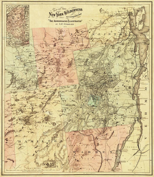 Photograph - 1879 Adirondacks Wilderness Map Upstate New York by Toby McGuire