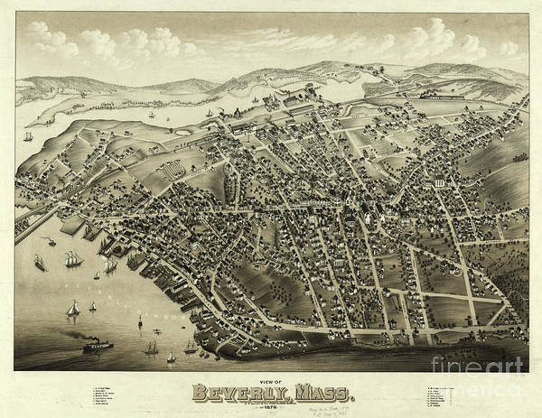 Drawing - 1879 Aerial Map Of Beverly Massachusetts by OH Bailey and Co