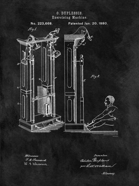 1880 Drawing - 1880 Exercise Machine Patent by Dan Sproul