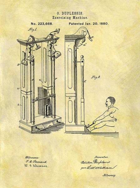 1880 Drawing - 1880 Exercising Machine Patent by Dan Sproul