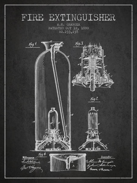Blueprint Digital Art - 1880 Fire Extinguisher Patent - Charcoal by Aged Pixel
