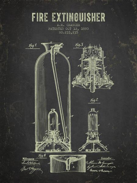 Blueprint Digital Art - 1880 Fire Extinguisher Patent - Dark Grunge by Aged Pixel