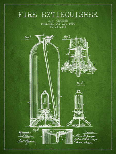 Blueprint Digital Art - 1880 Fire Extinguisher Patent - Green by Aged Pixel