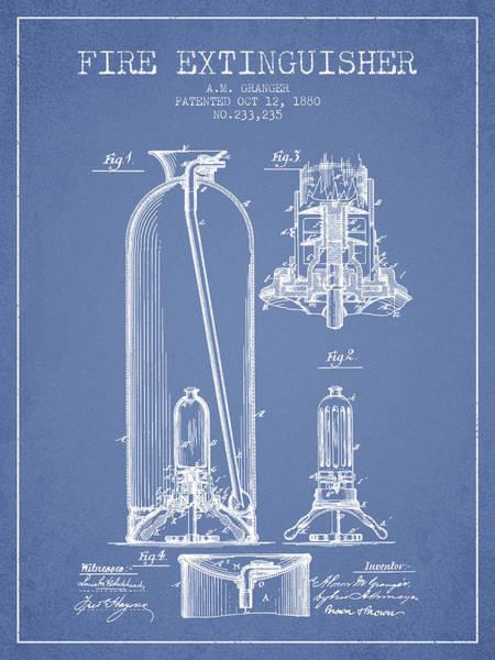 Blueprint Digital Art - 1880 Fire Extinguisher Patent - Light Blue by Aged Pixel