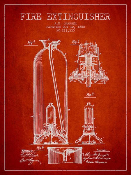 Blueprint Digital Art - 1880 Fire Extinguisher Patent - Red by Aged Pixel
