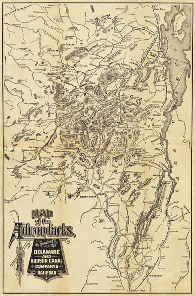 Photograph - 1880 Map Of The Adirondacks Railroad Upstate New York by Toby McGuire