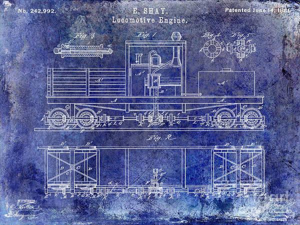Rr Photograph - 1881 Locomotive Engine Patent Blue by Jon Neidert