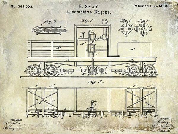 Rr Photograph - 1881 Locomotive Engine Patent by Jon Neidert