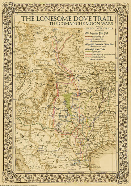 Dove Drawing - 1881 Lonesome Dove Map by Texas Map Store