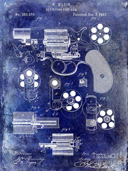 Wesson Photograph - 1881 Revolver Patent Blue by Jon Neidert
