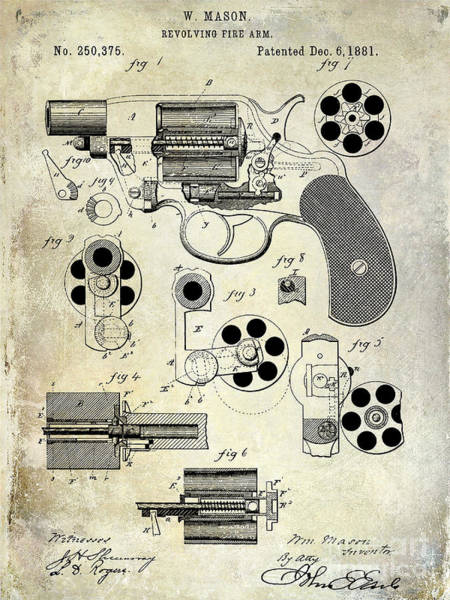 1800s Wall Art - Photograph - 1881 Revolver Patent  by Jon Neidert