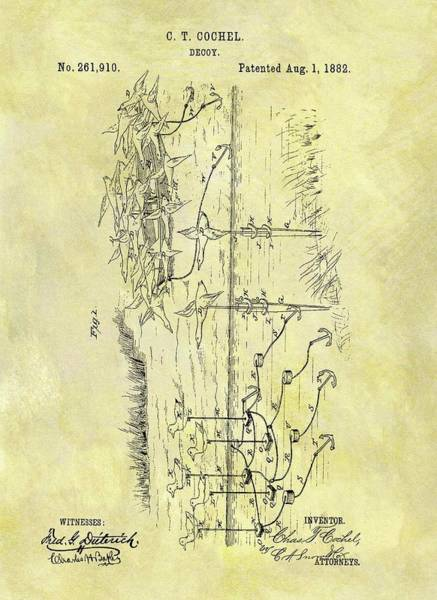 Drawing - 1882 Hunting Decoy Patent by Dan Sproul
