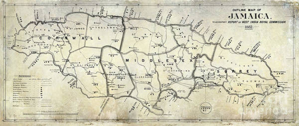 Wall Art - Photograph - 1882 Jamaica Map by Jon Neidert