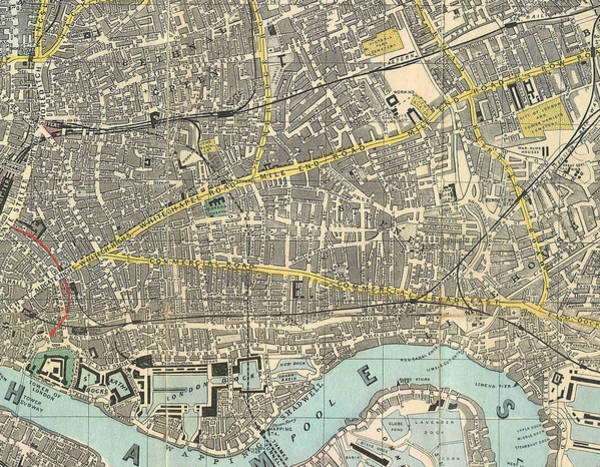 Painting - 1882 Map Of The East End Of London by Celestial Images
