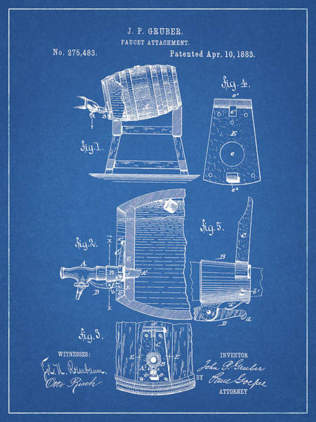 Drawing - 1883 Beer Faucet Design by Dan Sproul