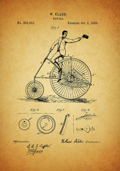 Drawing - 1883 Bicycle by Dan Sproul