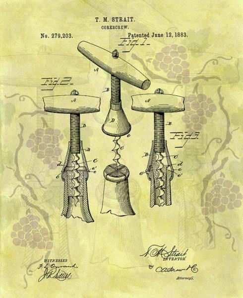 Mixed Media - 1883 Corkscrew Patent Art by Dan Sproul