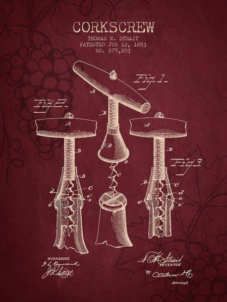 Wine Barrel Wall Art - Digital Art - 1883 Corkscrew Patent - Red Wine by Aged Pixel