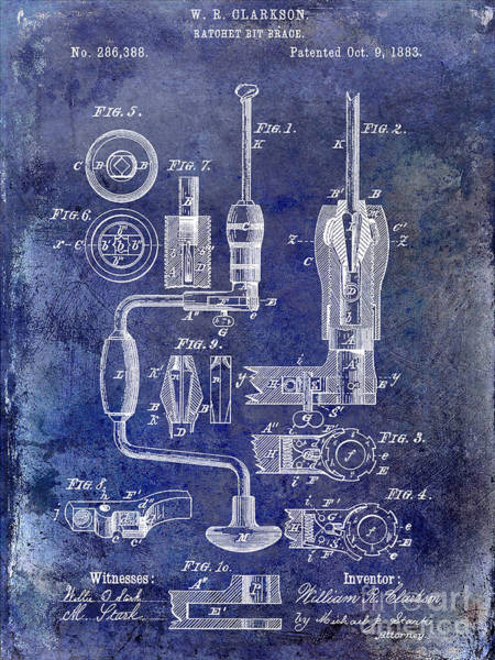 Drill Photograph - 1883 Drill Patent Blue by Jon Neidert