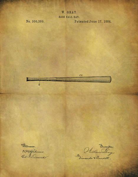 Babe Drawing - 1884 Baseball Bat Illustration by Dan Sproul