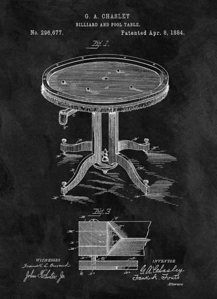 Drawing - 1884 Billiard Table by Dan Sproul