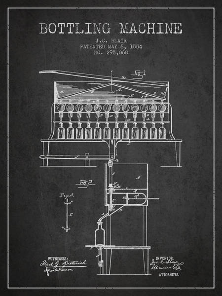 Wall Art - Digital Art - 1884 Bottling Machine Patent - Charcoal by Aged Pixel