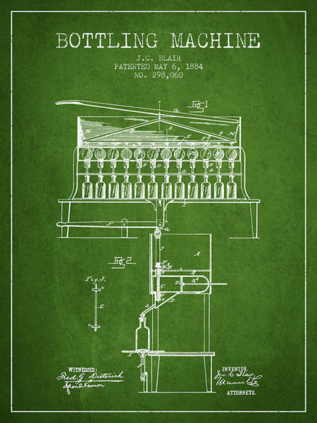 Brewery Digital Art - 1884 Bottling Machine Patent - Green by Aged Pixel