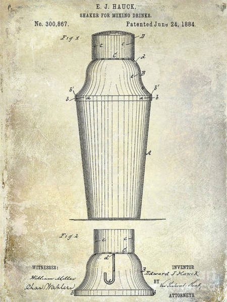 Cocktail Shaker Photograph - 1884 Drink Shaker Patent by Jon Neidert