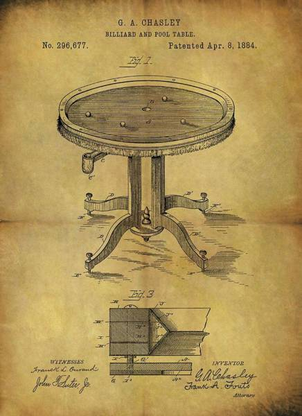 Drawing - 1884 Pool Table Patent by Dan Sproul