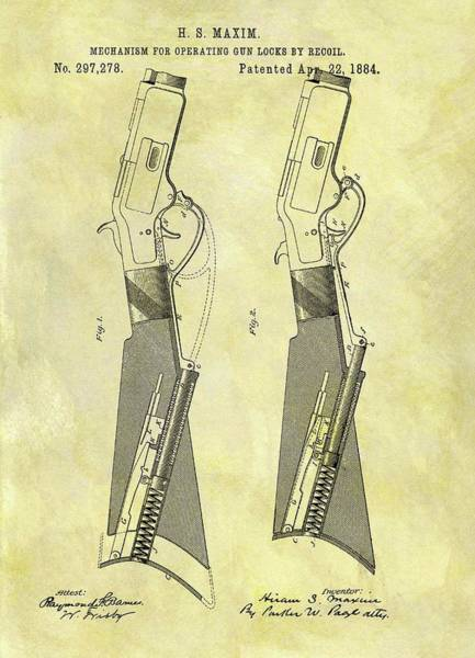 Target Drawing - 1884 Rifle Stock Patent by Dan Sproul