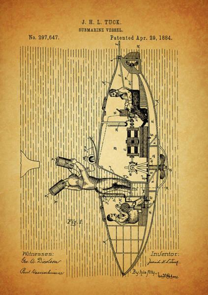 Wall Art - Mixed Media - 1884 Submarine Ship Patent by Dan Sproul