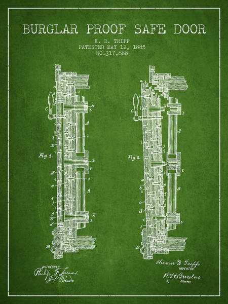 Banking Digital Art - 1885 Bank Safe Door Patent - Green by Aged Pixel
