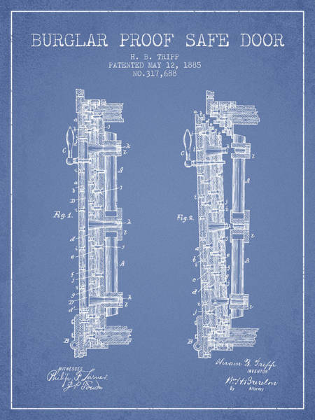 Banking Digital Art - 1885 Bank Safe Door Patent - Light Blue by Aged Pixel