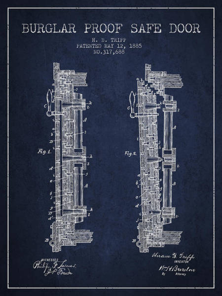 Banking Digital Art - 1885 Bank Safe Door Patent - Navy Blue by Aged Pixel